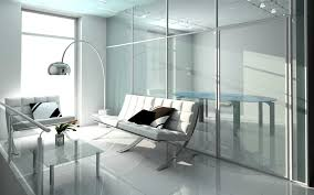 great white interior office decorated with glass wall and white