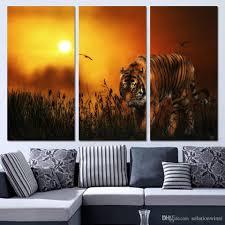 3 panels canvas art tiger hunting land sunset home decor wall art