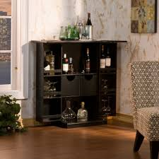 Home Mini Bar by Corner Black Stained Wooden Mini Bar Counter With Licquor Cabinet