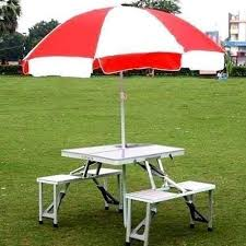 portable folding picnic table aluminum portable folding picnic table with umbrella at rs 5000
