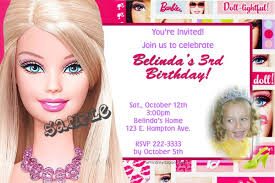 barbie face birthday invitations