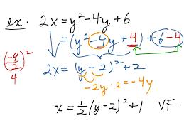 sideways parabola to vertex form math precalculus parabolas vertex form showme