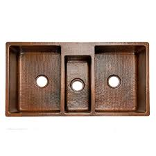 Premier Copper Products  X  Hammered Triple Bowl Kitchen - Hammered kitchen sink