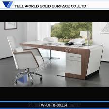 Computer Desk White Gloss Modern White Gloss Quartz Computer Desk Artificial Stone Office