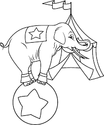 circus elephant in front of circus tent coloring pages best