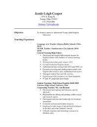 Objective For English Teacher Resume Teacher Resume
