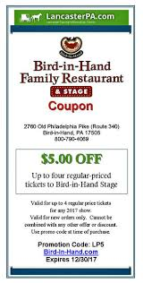Old Country Buffet Coupons Discounts by Bird In Hand Stage Coupon Amish Musical Coupons