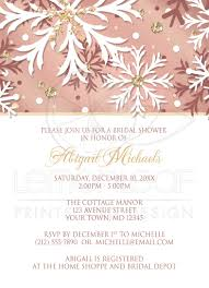 invitations by michaels bridal shower invitations rose gold winter snowflake