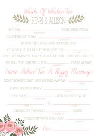 wedding mad libs template wedding mad libs sweet floral printable template