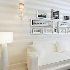 wide wallpaper home decor non woven metallic glitter off white and silver wide stripe modern
