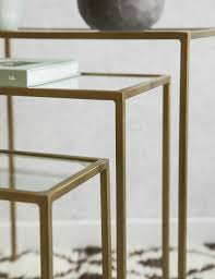 set of three end tables set of three brass glass side tables at rose grey