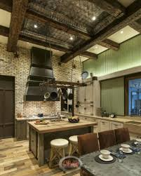 rustic country kitchen cabinets brown striped accent walls color
