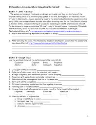 population community u0026 ecosystem worksheet