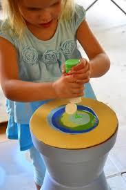 homemade flower pot bird bath pour painting in lieu of preschool