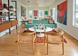 dining room lovely open floor plan with mid century modern color