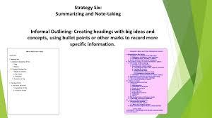 strategy six summarizing and note taking summarizing sorting
