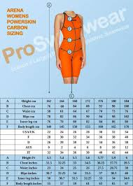 sizing guides for arena swimwear