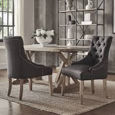 Farmhouse Table And Chairs Dining Chair With Arms Black And White Benchwright Button Tufts Wingback Hostess Chairs Set Of 2 By