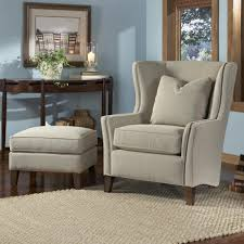 Blue Wingback Chair Design Ideas Grey Fabric Wingback Accent Chair With Cushion And Ottoman In Blue