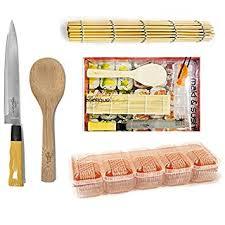 kit cuisine japonaise kit coffret maki et sushi natte bambou cuillère à riz couteau