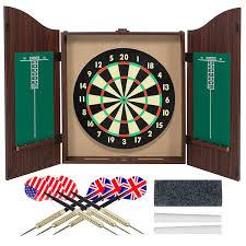 best dart board cabinet amazon com gameroom dartboard cabinet set with realistic walnut