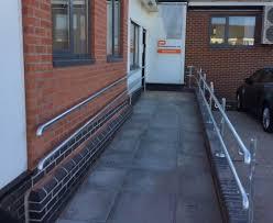 Disabled Handrails Tubular Steel Galvanized External Handrails To Ramp