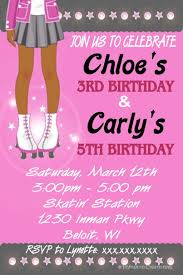 colors stylish roller skating birthday party invitation ideas