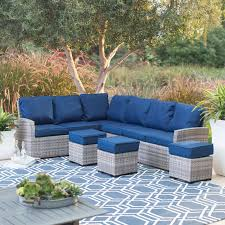 Patio Furniture Sectional Seating - belham living monticello all weather outdoor wicker sofa sectional
