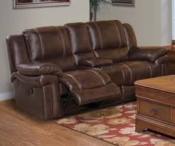rowley brown dual recliner console loveseat for 779 94 furnitureusa