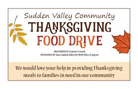 thanksgiving community food drive sudden valley community