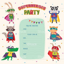 Card Invitation Superhero Card Invitation With Group Of Cute Little Animals Stock