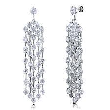 Cubic Zirconia Chandelier Earrings Berricle Cubic Zirconia Cz Womens Wedding Bridal Fashion Dangle