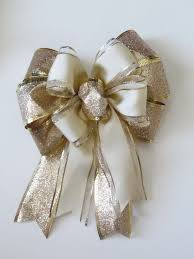 wedding gift bows ivory gold gift bow wedding anniversary bow by greentraderllc