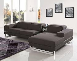 modern brown fabric sectional sofa w iphone dock 44l5948