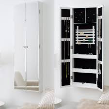 Distressed Jewelry Armoire Bedroom Brilliant Mirrored Jewelry Cabinet With Gorgeous Wall