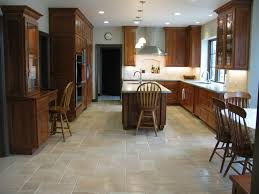 decorating bright travertine tile floor spacious kitchen natural