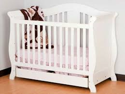 white sleigh crib with drawer 7468