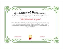 retirement certificate template 7 download documents in pdf