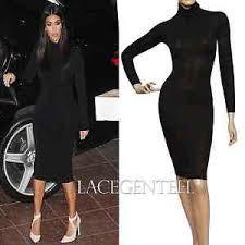 kim kardashian fit black cotton long sleeve knee turtleneck