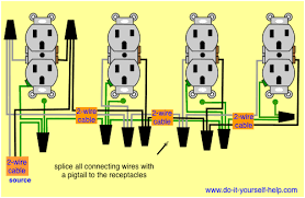 wiring diagram for a row of receptacles electrical pinterest