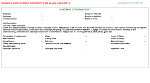 sales associate employment contracts