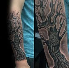 carved tree trunk family tree forearm sleeve tattoos