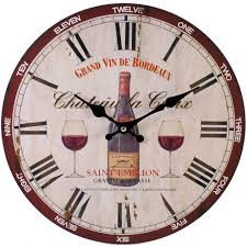 Large Shabby Chic Wall Clock by Saint Emillion Red Wine Design 34cm Wall Clock New U0026 Boxed Wine