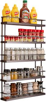 wall mounted kitchen storage cupboards 5 tier large spice rack organizer wall mount hanging seasoning shelf holder for kitchen cabinet cupboard pantry door or the stove