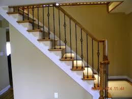 wood stairs and rails and iron balusters wood handrail with iron