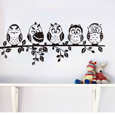 online get cheap wall decal aliexpress com alibaba group five coffee baby owl black wall sticker cartoon decals pvc waterproof hollow out home decor living