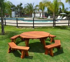 Round Redwood Picnic Table by Bench Picnic Tables With Detached Benches Round Wooden Picnic