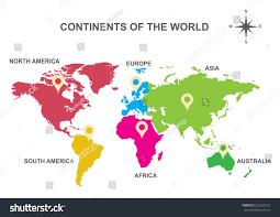 World Continent Map Continents World Continents Asia Europe Australia Stock Vector