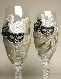 mardi gras glasses mardi gras mask polymer clay chagne wedding flutes the clay monet