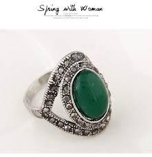 green gemstone rings images Posh dark green gemstone decorated oval shape design alloy korean jpg